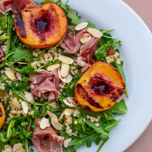 Grilled Peach and Prosciutto Salad with Israeli Couscous